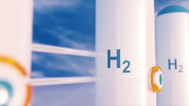 wasserstoff erneuerbare energieerzeugung - wasserstoffgas für sauberen strom solar- und windkraftanlagen. - wasserstoff stock-videos und b-roll-filmmaterial