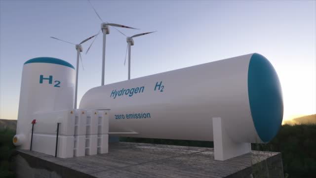 vidéos et rushes de production d'énergie renouvelable d'hydrogène - gaz d'hydrogène pour l'électricité propre solaire et installation éolienne. - production d'énergie