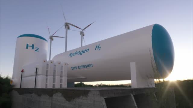 wasserstoff-erzeugung erneuerbarer energien - wasserstoffgas für saubere elektrizität solar- und windkraftanlagenanlage - wasserstoff stock-videos und b-roll-filmmaterial