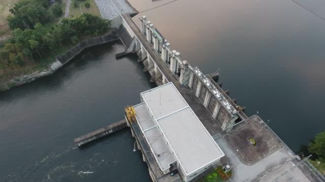 水力発電所の空中ビューストックビデオ ビデオ