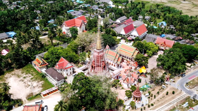 Hyper Lapse : Aerial View Of Ancient Temple Wat Chang Hai In Pattani Province In Thailand video