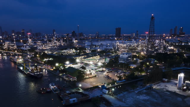 Hyper lapse Aerial view of  of oil refinery ,Shot from drone of Oil refinery and Petrochemical plant , Bangkok, Thailand