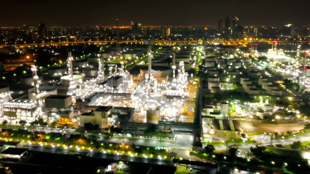4K Hyper lapse of Aerial of industrial park with oil refinery in Bangkok, Thailand