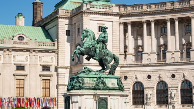 hyper lapse of hofburg and statue of prince eugene of savoy, vienna, austria - coloniale video stock e b–roll