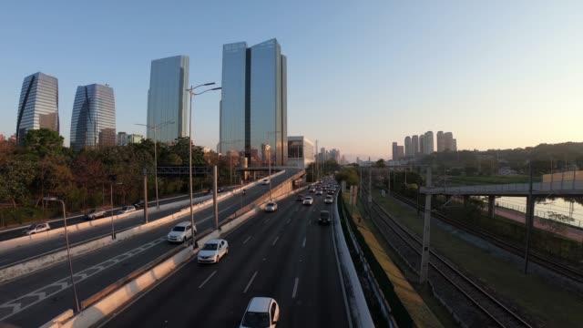 Hyper lapse of Marginal Pinheiros, Sao Paulo Hyper lapse of Marginal Pinheiros river, Sao Paulo, Brazil são paulo state stock videos & royalty-free footage