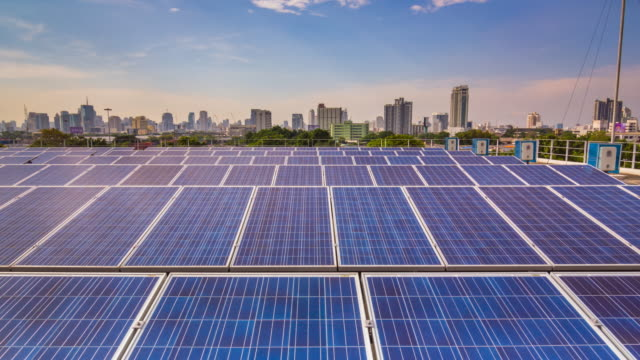 Hyper Lapse of Solar Farm in the city