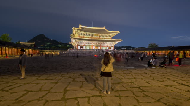 Hyper lapse Tourists visiting Gyeongbokgung Palace in Seoul City,South Korea Hyper lapse Tourists visiting Gyeongbokgung Palace in Seoul City,South Korea gwanghwamun gate stock videos & royalty-free footage