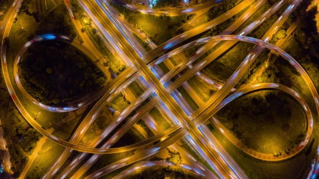 4K Hyper lapse : traffic on Highway interchange - Aerial view of expressway or freeway  road junctions