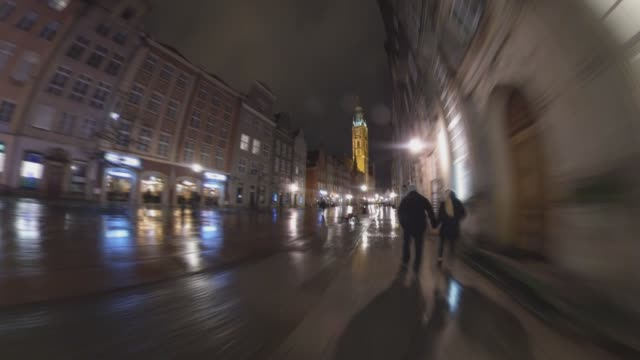 Hyper Lapse Walking Along Old Town Street Tenement Houses Gdansk Poland at Night Hyper Lapse Walking Along Old Town Street Tenement Houses Gdansk Poland at Night gdansk stock videos & royalty-free footage