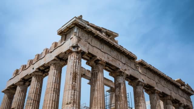 vídeos de stock, filmes e b-roll de hyperlapse: acropolis de atenas - civilização milenar