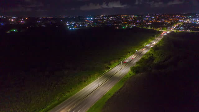 Hyperlapse aerial timelapse of cars on a busy dual lane highway (1) video
