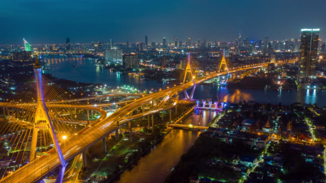 Hyperlapse Aerial view of Bhumibol suspension bridge at night Hyperlapse Aerial view of Bhumibol suspension bridge at night suspension bridge stock videos & royalty-free footage