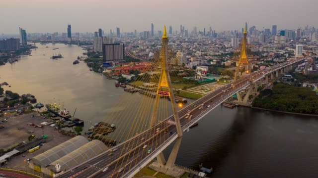 Hyperlapse Aerial view of Bhumibol suspension bridge cross over Chao Phraya River in Bangkok city with car on the bridge at sunset sky and clouds in Bangkok Thailand. Hyperlapse Aerial view of Bhumibol suspension bridge cross over Chao Phraya River in Bangkok city with car on the bridge at sunset sky and clouds in Bangkok Thailand. bangkok stock videos & royalty-free footage