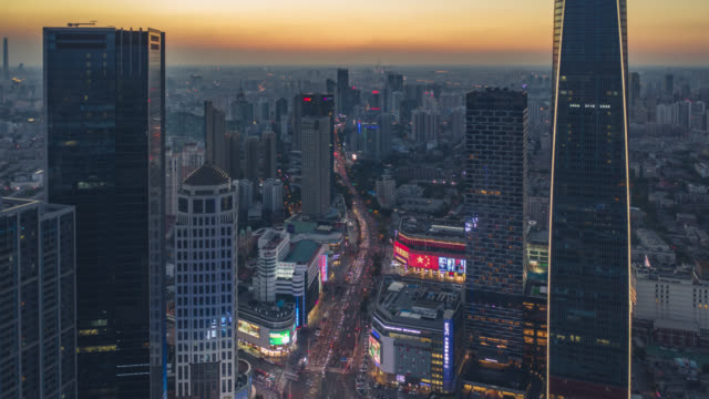 hyperlapse aerial view of business district - aerial timelapse stock videos & royalty-free footage