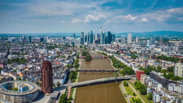 hyperlapse: aerial view of frankfurt - germany, hesse - francoforte sul meno video stock e b–roll