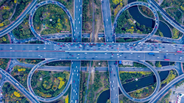 Hyperlapse aerial view of overpass drone point of view, traffic time lapse stock videos & royalty-free footage