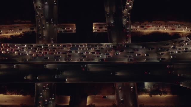 hyperlapse aerial view of overpass - strada tortuosa video stock e b–roll