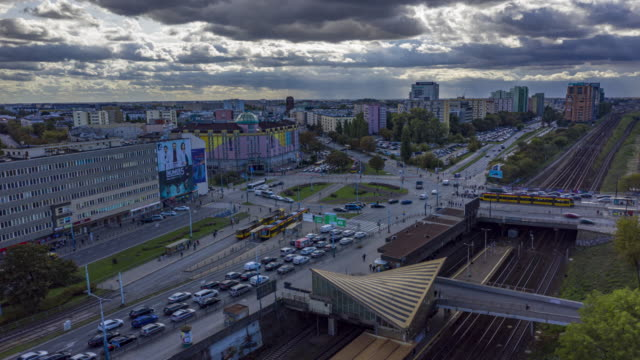 Hyperlapse aerial view of Zawisza square in Warsaw city center