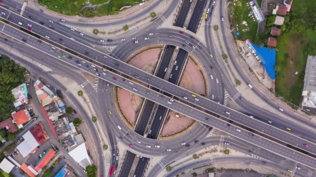 Hyperlapse and zoom out : Top view of circle road traffic 4k Time lapse or Hyperlapse with zoom out and rotation : Top view of circle road traffic in day time, Thailand traffic time lapse stock videos & royalty-free footage