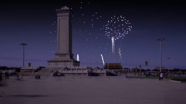 Hyperlapse. China Landmark,Beijing Tiananmen Square Day to Night with Fireworks and Monument.