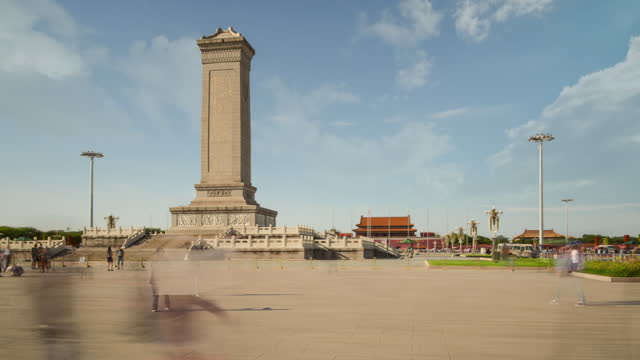 Hyperlapse. China Landmark,Beijing Tiananmen Square with Monument and Clouds.