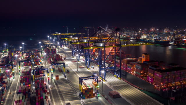 Hyperlapse Industrial port with Container port aerial view hyperlapse port operation ports stock videos & royalty-free footage