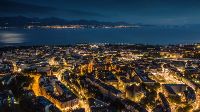 Hyperlapse: Lausanne Cityscape in Switzerland