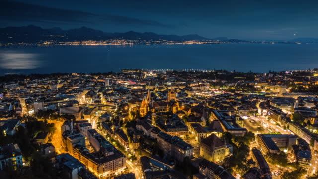 vídeos de stock e filmes b-roll de hyperlapse: lausanne cityscape in switzerland - suíça