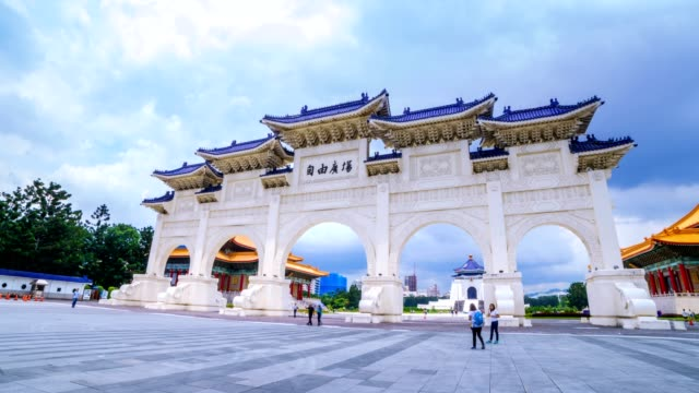 Hyperlapse de Chiang Kai Shek (CKS) memorial hall en Taipei City - vídeo