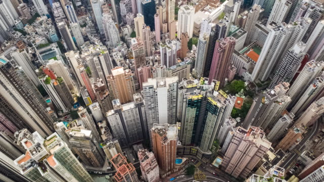 Hyperlapse of Cityscape crowded building in Hong Kong