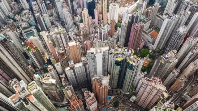 hyperlapse of cityscape crowded building in hong kong - центральный район стоковые видео и кадры b-roll