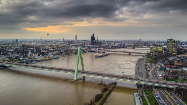 Hyperlapse of Cologne (Köln) Cityscape in Germany