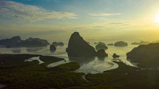 Hyperlapse of Dronelapse of Samed Nang Chee view point at Phang Nha Bay in Phang Nga Province near Phuket Town, Thailand at sunrise