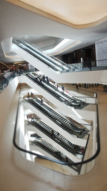 hyperlapse of escalator (vertical) - vertical format video stock videos and b-roll footage