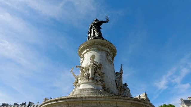 Hyperlapse of famous Monument Place de la Republique, France. The Place de la République is a square in Paris, located on the border between the 3rd, 10th and 11th arrondissements