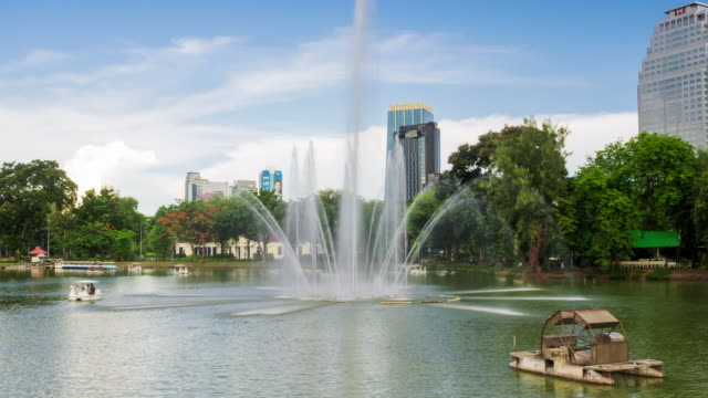 Hyperlapse of fountain on lake in Lumpini Park Bangkok video