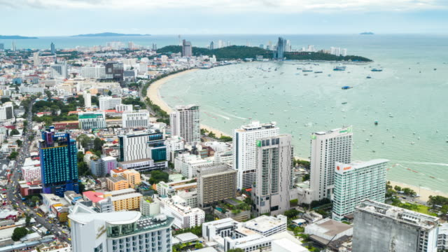 Hyperlapse of Pattaya city landscape aerial view in day time