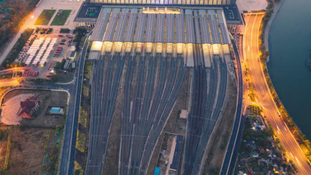 Hyperlapse of railway station aerial view