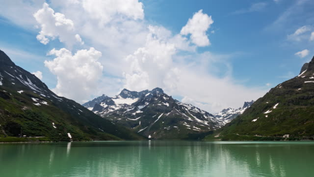 Hyperlapse of Silvretta Stausee lake on Silvretta-Bielerhohe High Alpine Road in Vorarlberg, Austria