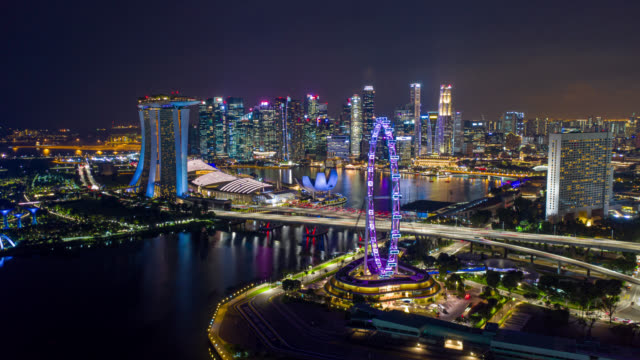 Hyperlapse or Dronelapse scene of Singapore business district downtown at night