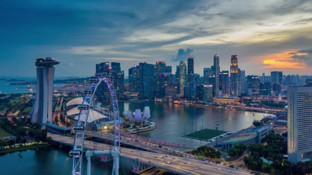 Hyperlapse or Dronelapse scene of Singapore business district downtown at sunset