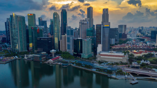 hyperlapse or dronelapse scene of singapore business district downtown - singapore architecture stock videos & royalty-free footage