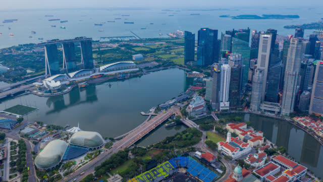 Hyperlapse or Dronelapse scene of Singapore business district downtown