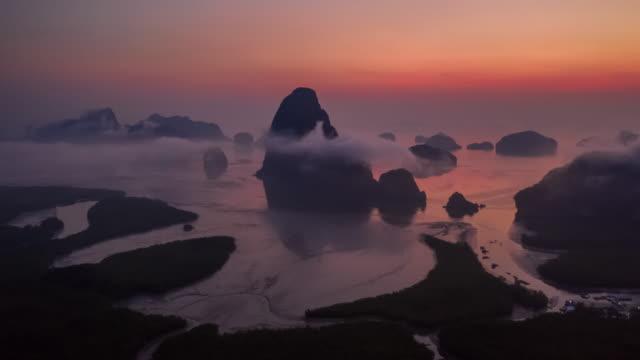 Hyperlapse Phang-Nga Bay in the dawn