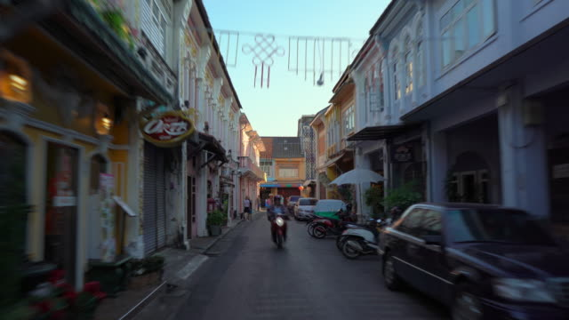 Hyperlapse shot of historical buildings in an old part of Phuket town, Phuket island, Thailand. Travel to Thailand concept