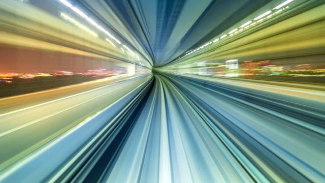 vídeos y material grabado en eventos de stock de hyperlapse a través de tokio vía monorraíl - velocidad