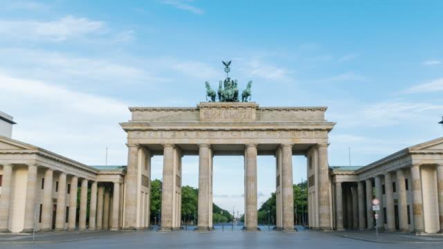 Hyperlapse time lapse sequence of the Brandenburg Gate of Berlin in early morning sun light