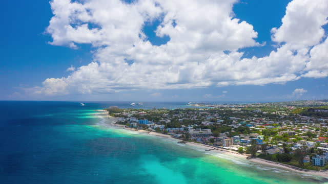 Hyperlapse timelapse by drone looking over Bridgetown, Barbados video