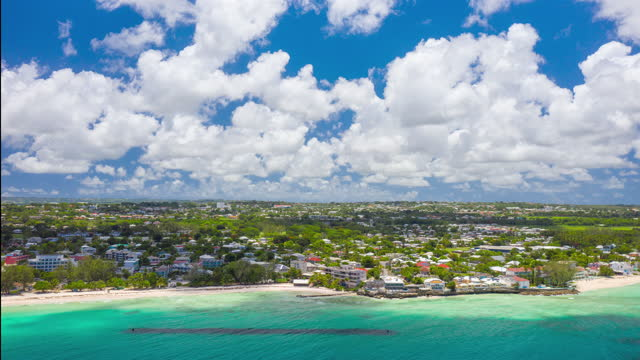 Hyperlapse timelapse by drone over Accra Beach on the south coast of Barbados (rotation) video