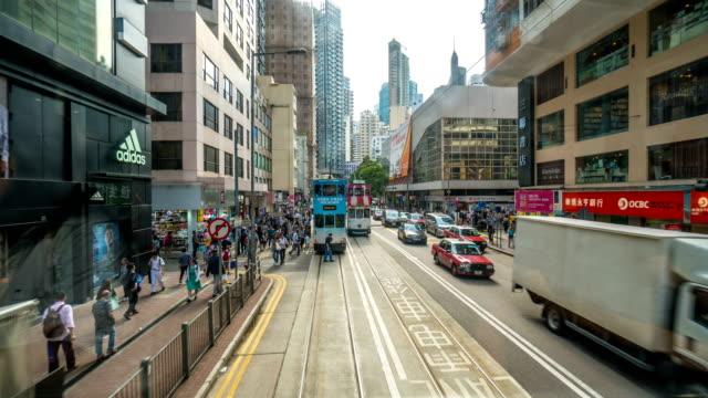 hyperlapse timelapse of hong kong from moving tram - tranvia video stock e b–roll
